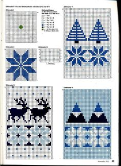 Anna 2012 № 11 4 Anna 2012 № these Christmas knitting charts are at the back of the magazine. Some super ideas in the whole mag tho'. Knitted Mittens Pattern, Fair Isle Knitting Patterns, Knitting Charts, Knitting Stitches, Knitted Hats, Crochet Patterns, Hat Patterns, Crochet Beanie, Crochet Hats