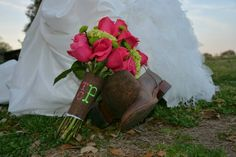 Bridal bouquet burlap wrap with new initials/monogram. pink, green & brown rustic wedding