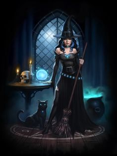 f Wizard Robes Hat Necklace Belt Broom Crystal Ball Cauldron Black Cat Familiar Casting Circle Portal Tower Night Witches Lair lg Halloween Scarecrow, Halloween Artwork, Fantasy Witch, Dark Fantasy Art, Witch Pictures, Witch Pics, Monster Vampire, Beautiful Witch, Halloween Cartoons