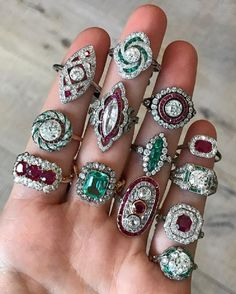 Emerald and Ruby Diamond Rings