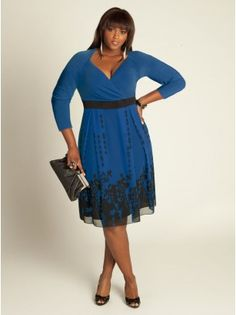 Deco Plus Size Dress in French Blue - I love the neckline on this dress, except would like more cleavage coverage.