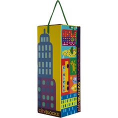 Colorful stacking blocks decorated with cityscape illustrations done by Dan Crisp. Your child can recreate a skyscraper or park right in the...