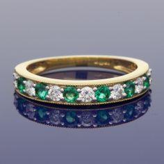 18ct Emerald & Diamond Eternity Ring £1,150.00 Eternity Ring Diamond, Emerald Diamond, Bangles, Bracelets, Wedding Rings, Earrings, Gold, Jewelry, Ear Rings