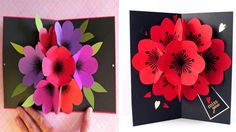How to Make A Bouquet Flower Pop-up Card, DIY flower POP UP, valentines Day How to Make A Bouquet Flower Pop-up Card, DIY flower POP UP, valentines Day 2018 Instructions: Fold in half (width wide) and then tear all four papers in half. Pop Up Flower Cards, Pop Out Cards, Pop Up Flowers, Diy Flowers, Paper Flowers, 3d Cards, Cards Diy, Making A Bouquet, Flower Making