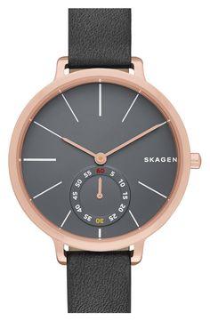 Skagen 'Hagen' Leather Strap Watch, 34mm
