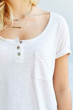 Truly Madly Deeply Henley Tee - Urban Outfitters ppoly cttn ryon