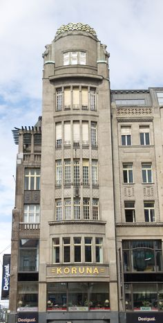"""The palace """"Koruna"""" in late Art Nouveau style, Wenceslas Square, Prague #architecture #ArtNouveau #Czechia"""