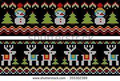 seamless pattern with snowman and deer in cross stitch - stock vector Xmas Cross Stitch, Cross Stitch Borders, Cross Stitch Designs, Stitch Patterns, Knitting Charts, Knitting Stitches, Knitting Patterns, Fair Isle Chart, Crochet Snowman