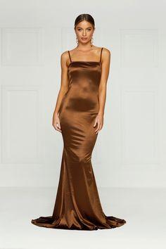 Sexy satin stretch slip dress, maxi dress, formal dress, prom dress brown