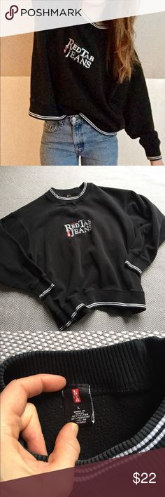 Vintage Levi's black pullover Black 90's Levi's pullover // great vintage condition but the bottom band at waist is very stretched out // tagged men's large (model is size small); best fit for medium to large. Offers welcome! Levi's Tops Sweatshirts & Hoodies