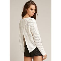 Forever 21 Women's  Tiger Mist Take Me Over Crossover Back Sweater (€63) ❤ liked on Polyvore featuring tops, sweaters, forever 21 tops, lightweight sweaters, forever 21 sweaters, cross back sweater and full length sweater