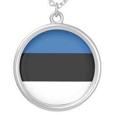 Shop Estonia Silver Plated Necklace created by Sphinx_N_Phoenix. Estonia Flag, Black Felt, Flags, Silver Plate, Gifts, Presents, Black Fedora, Silverware Tray, National Flag
