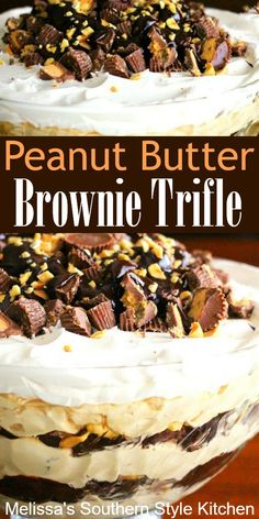 Peanut Butter and chocolate collide in this amazing brownie trifle Mini Desserts, Chocolate Trifle Desserts, Parfait Desserts, Peanut Butter Desserts, Cold Desserts, Peanut Butter Brownies, Just Desserts, Delicious Desserts, Dessert Recipes