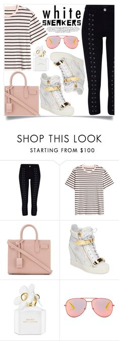 """White Sneakers"" by alaria ❤ liked on Polyvore featuring River Island, H&M, Yves Saint Laurent, Giuseppe Zanotti, Marc Jacobs and whitesneakers"