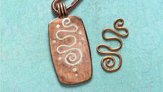 Silver and copper metal clay pendant