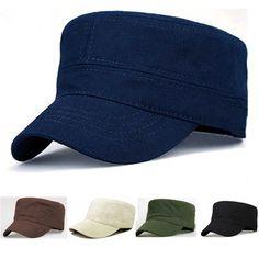 Classic Men Women Solid Color Army Hat Cadet Combat Plain Military Flat Cap  Sombreros 817f1e27ee3