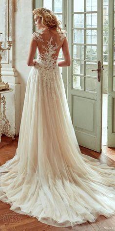 nicole spose bridal 2017 cap sleeves illusion sweetheart aline wedding dress (niab17080) bv illusion back train