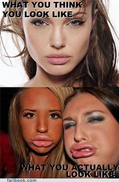 "Why do people think fake fat lips (duck-face) is pretty???  Chasing someone's ""idea"" of beauty is sad - be yourself!"