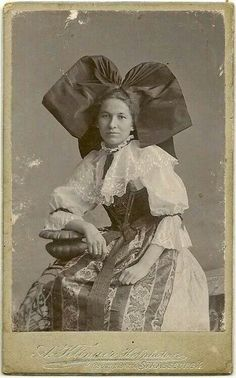 Strasbourg, Alsace, ca 1880.  Typical large black coiffe.  Although other less spectacular coiffes are worn in other parts of Alsace, this black coiffe has become the most recognisable and has overshadowed all the others when it comes to representing Alsatian folk costumes.