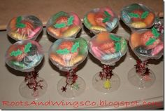 Love the cookies in wine or champagne glasses for a cookie exchange or neighbor gifts....you could even decorate the glasses with vinyl or etch them!