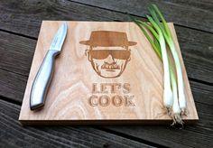 HEISENBERG Wooden Cutting Board - Lets Cook Engraved Cutting Board 9 X 12  WALTER WHITE Cutting Board Christmas Gift For Husband BoyFriend