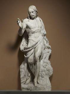Germain PILON  Paris, connu depuis 1540 - mort en 1590    La Résurrection   Marbre    Le groupe du Christ ressuscitant entouré de deux soldats gardant le tombeau a été exécuté pour la rotonde des Valois, chapelle funéraire d'Henri II à Saint-Denis. Il figure dans l'inventaire de l'atelier de Pilon en 1572 et est livré inachevé par la veuve du sculpteur à l'administration royale en 1609. Il sera conservé jusqu'à la Révolution dans la salle des Antiques du Louvre