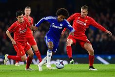 Willian breaks through the Liverpool defence