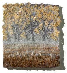 Autumn Trees... - by Natalia Margulis <> (fiber, fabric, textile art)