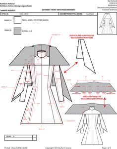 Example of a Garment Technical Pack for Production Draping Techniques, Sewing Techniques, Clothes Crafts, Sewing Clothes, Clothing Patterns, Sewing Patterns, Capes, Couture, Tech Pack