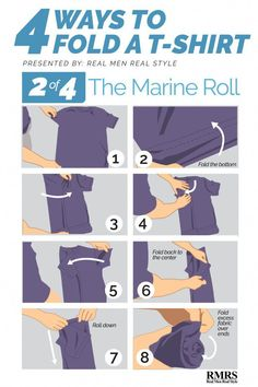 807715f49f0 Folding T-Shirts – Method The Marine Roll (Army Roll) men T-shirt