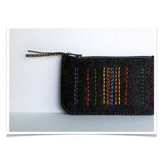 Wool Felt Coin Purse Wallet // Hand Embroidered // Licorice Black // LoftFullOfGoodies on Etsy, $24.00