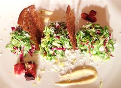 Deconstructed Caesar Salad - SO GOOD!  #Salad #CaesarSalad #Cream #Parmesan #Croutons #SmokedBacon #Bacon #Romaine #Radicchio #Dinner #Savoury #sharingplate #smallplate #Toronto #downtowntoronto #torontorestaurant #delicious www.berbersocial.com