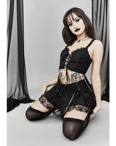 Hot Goth Girls, Gothic Girls, Dark Fashion, Gothic Fashion, Chica Punk, Gothic Lingerie, Goth Dress, Goth Skirt, Harajuku