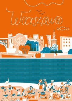 warszawa_nasito_50x70_internet Polish Posters, Art Day, Insta Art, Digital Illustration, Digital Art, Character Design, Doodles, Kids Rugs, Fan Art
