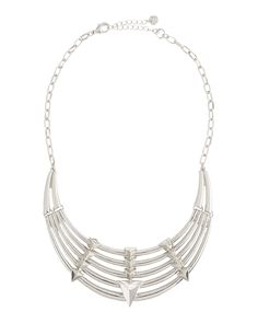 Lydell NYC Tiered Pyramid-Stud Bib Necklace, Silvertone
