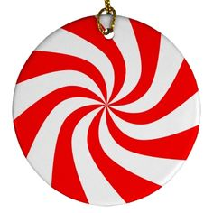 Peppermint Candy Porcelain Circle Ornament