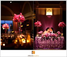 Beautiful centerpieces and sweetheart table at Casa Real (photos by Yong Studio).