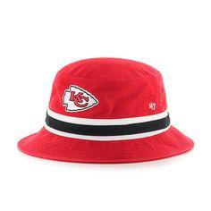 809b80ffa9e47 Kansas City Chiefs 47 Brand L XL Striped Red Bucket Hat