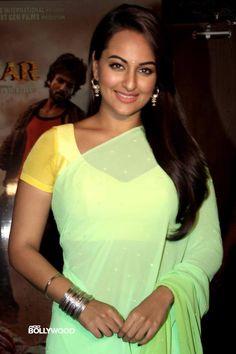 Sonakshi Sinha Casual Green Saree