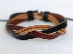 106 Men's leather bracelet Leather bands bracelet Cotton ropes bracelet Woven bracelet Fashion leather jewelry Birthday gift For men & women