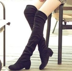 2013 New Over The Knee Open Toe Boots, Black Suede Over The Knee ...