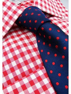 Large Red Gingham Slim Fit Double Cuff Shirt - SF101 | Slim Fit Shirts | Harvie & Hudson of Jermyn Street London