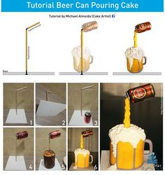 Beer Can Pouring - by Michael Almeida @ CakesDecor.com - cake decorating website
