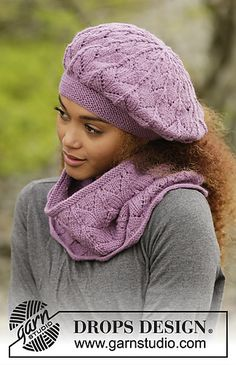 """Myra - Knitted DROPS beret and neck warmer with lace pattern in """"Lima"""". - Free pattern by DROPS Design Crochet Lace Scarf, Bonnet Crochet, Drops Design, Crochet Kids Hats, Knitted Hats, Knitting Patterns Free, Free Knitting, Free Pattern, Cowl Patterns"""