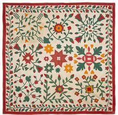Applique album quilt, dated 1857, signed Mrs. Catherine Tyson, 84'' x 84''. - Price Estimate: $2000 - $3000