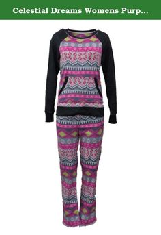 Celestial Dreams Womens Purple Aztec Southwest Style Pajamas Fleece Pajama Set S. This pretty purple Aztec style southwest print pajama set features a long sleeved pajama top and elastic waist pajama bottoms. Women's and Plus sizes 2 Piece Set Soft polyester fleece .