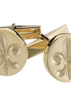 Fleur-de-Lis Cuff Links     Quality - 14K Yellow gold or 14K White Gold     CUFF LINKS     Finish - Polished     Series Description - METAL FASHION CUFF LINKS     Weight: 3.583 DWT ( 5.57 grams)     Matching Gents Ring: ST-9763G      ST-84126G    http://www.thesgdex.com