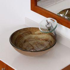 Elite 7003F22T Modern Design Tempered Glass Bathroom Vessel Sink and