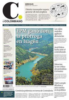 Portada de El Colombiano para el miércoles 13 de agosto de 2014