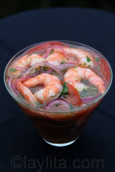 {Ceviche de camarón} is one of the most popular Ecuadorian ceviches, especially at the beach!!!  One of the great things about this type of ceviche is that the shrimp are already cooked.